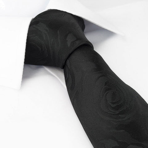 Black Rose Luxury Woven Silk Tie