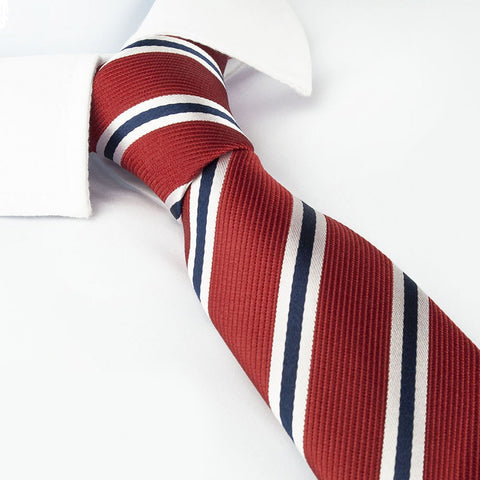 Red Slim Silk Tie With White & Navy Stripes