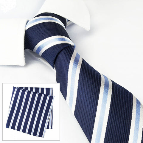 Slim Navy With Blue & White Stripes Silk Tie & Handkerchief Set