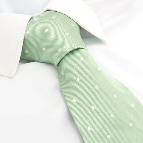 Yoghurt Green Polka Dot Silk Tie