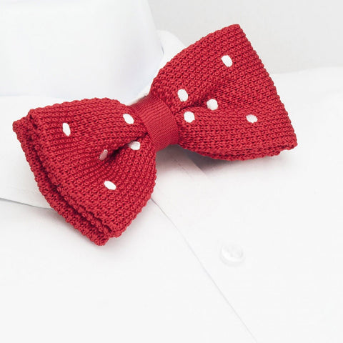 Pre-Tied Red Polka Dot Knitted Bow Tie