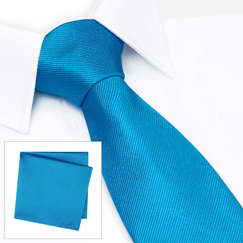 Plain Petrol Blue Woven Silk Tie & Handkerchief Set