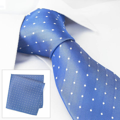 Blue Polka Dot Woven Silk Tie & Handkerchief Set