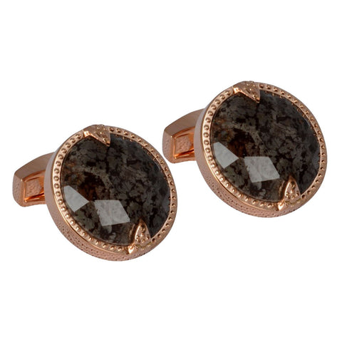 Rose Gold Cufflink with Faceted Network Stone