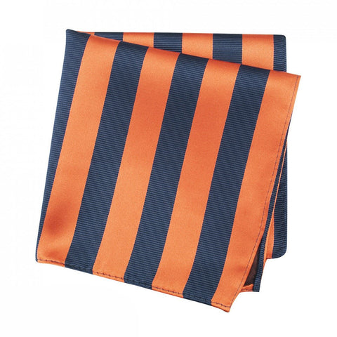 Orange & Navy Woven Striped Silk Handkerchief