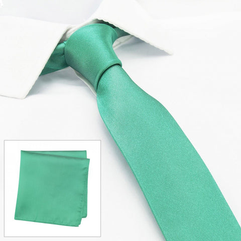 Slim Plain Turquoise Silk Tie & Handkerchief Set