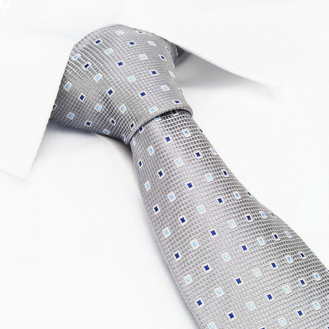 Silver Square Patterned Silk Tie