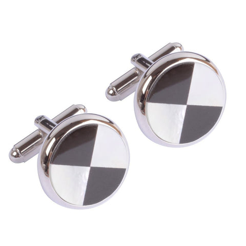 Black and Mother of Pearl Circle Cufflinks