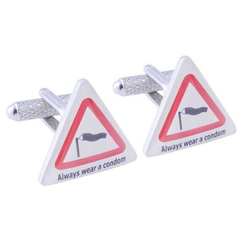 Always Wear A Condom Road Sign Cufflinks