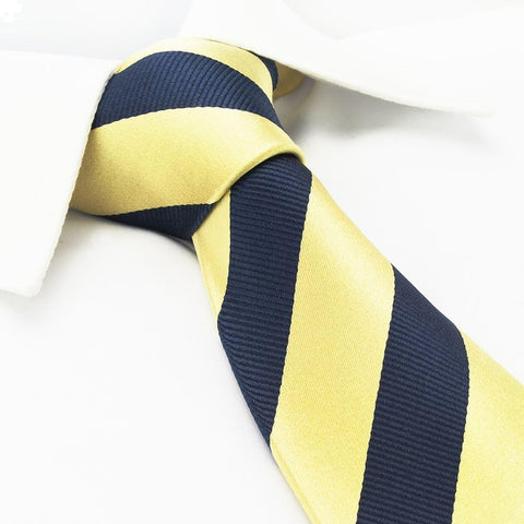 Gold & Navy Woven Striped Silk Tie