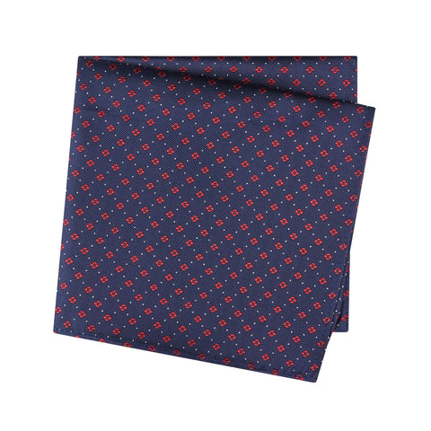 Navy & Red Flower Spot Silk Handkerchief