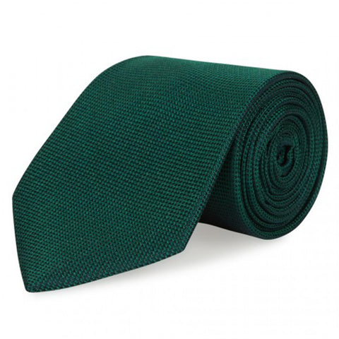Dark Green Silk Plain Classic Textured Tie