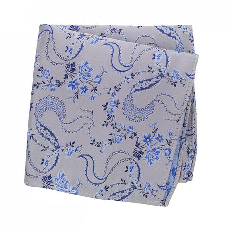 Silver & Blue Luxury Floral Silk Handkerchief