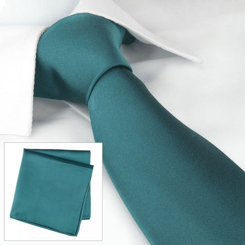Plain Teal Silk Tie & Handkerchief Set