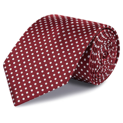Dark Red Polka Dot Woven Silk Ties