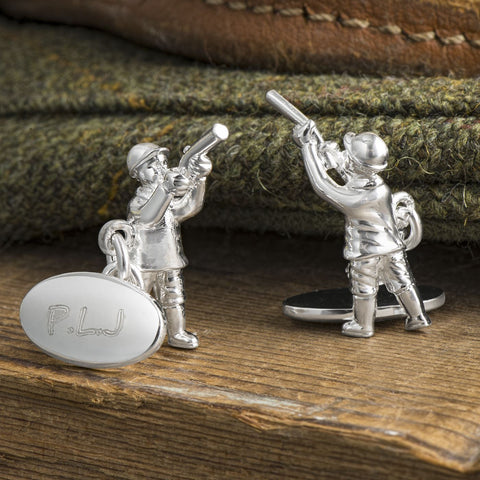 Silver Plated Shooting Chain Cufflinks (Engraved)