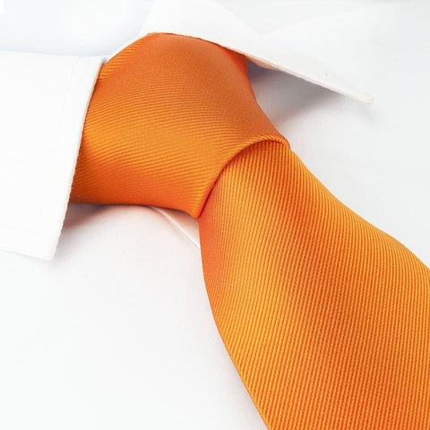 Plain Orange Woven Silk Tie