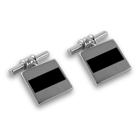 Sterling Silver Onyx Chain Link Cufflinks