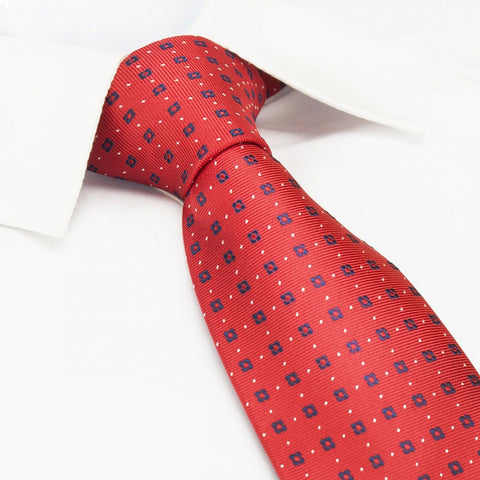 Red & Navy Flower Spot Silk Tie