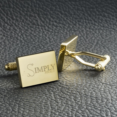 Logo Engraved Cufflinks, Gold plated rectangle