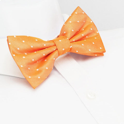 Pre-Tied Orange Polka Dot Woven Silk Bow Tie