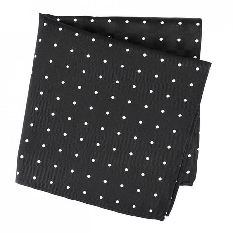 Black Large Polka Dot Silk Handkerchief