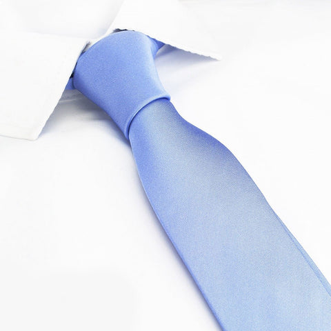 Plain Light Blue Slim Silk Tie