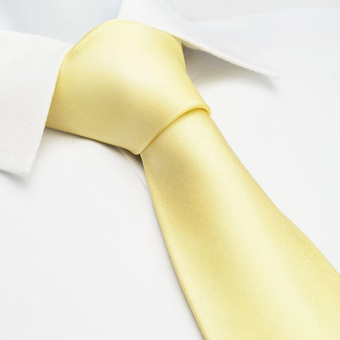 Plain Lemon Yellow Silk Tie