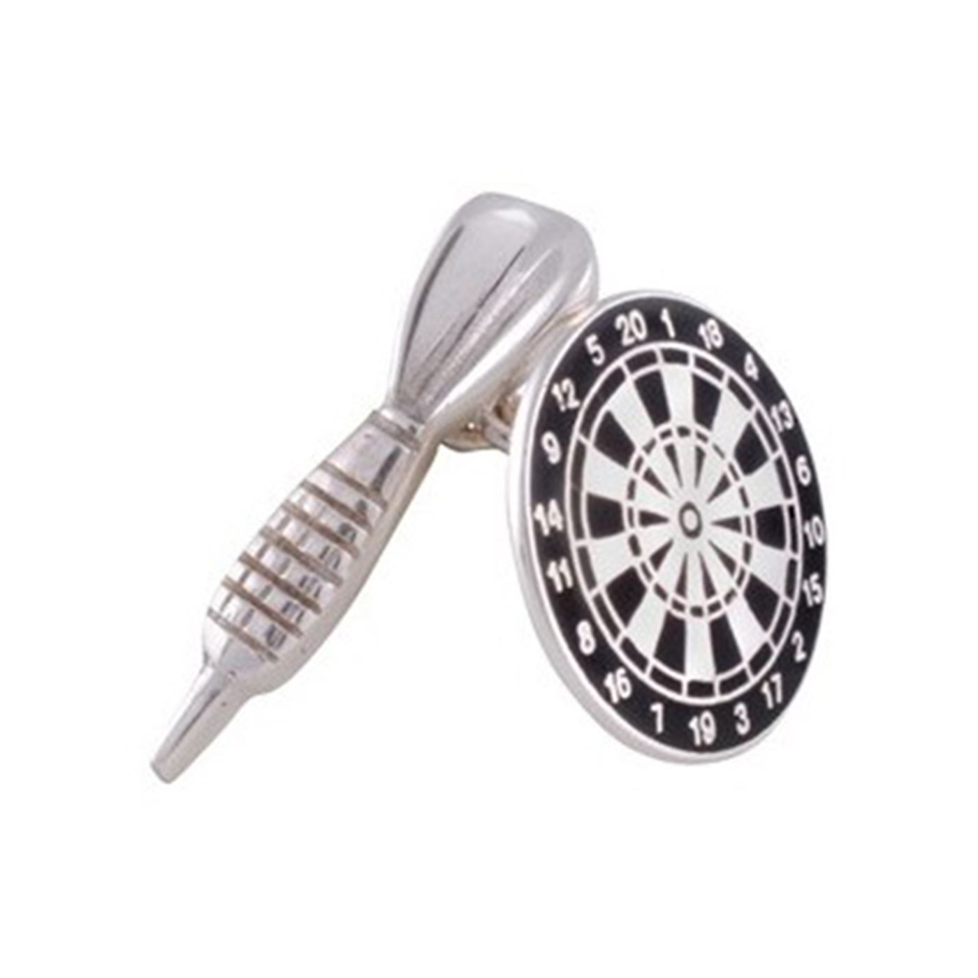 b8c3126f533b Sterling Silver Black Enamel Dart and Dartboard Cufflinks – The Tie ...
