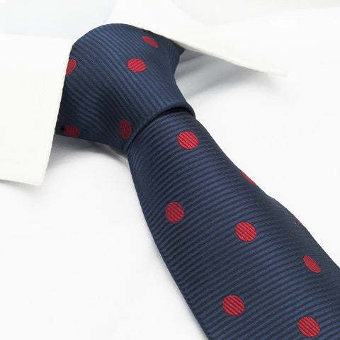 Navy Silk Tie With Red Polka Dots