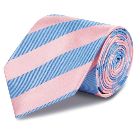Pink & Blue Woven Striped Silk Tie