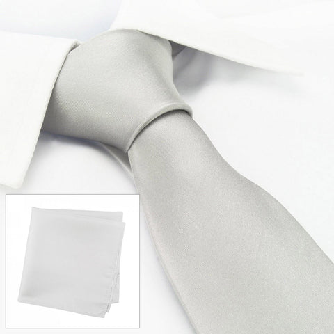 Plain Silver Silk Tie & Handkerchief Set