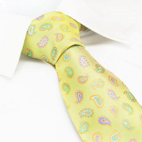 Green Paisley Tear Drop Silk Tie