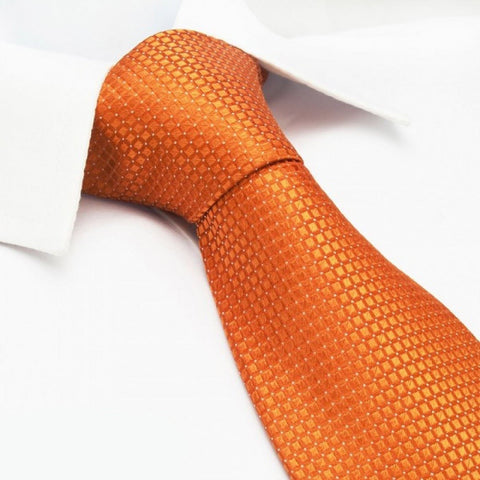 Orange Micro Square Woven Silk Tie