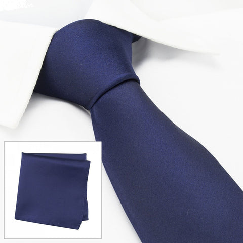 Plain Navy Silk Tie & Handkerchief Set