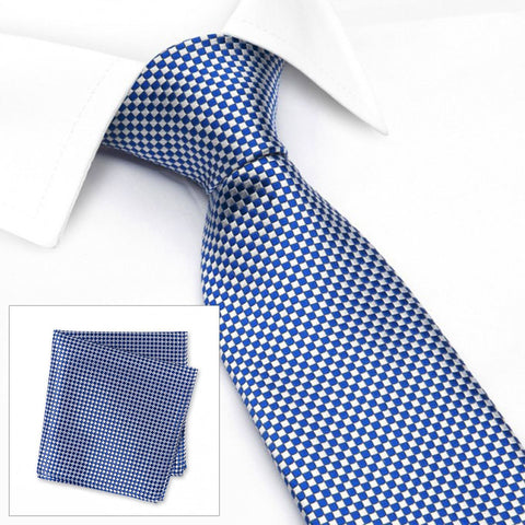 Blue & White Micro Square Woven Silk Tie & Handkerchief Set