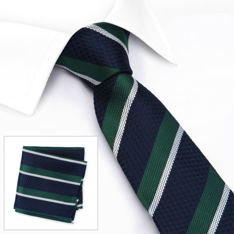 Navy, Green & White Classic Club Stripe Silk Tie & Handkerchief Set