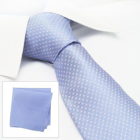 Light Blue & Pink Neat Pin Dot Silk Tie & Handkerchief Set