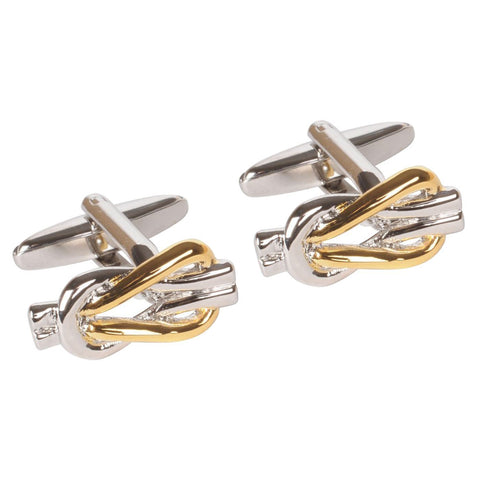 Two Toned Gold and Silver Reef Knot Cufflinks