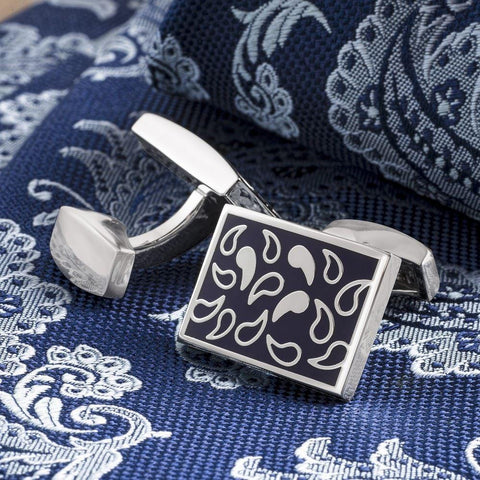 Navy Paisley Tear Drop Cufflinks