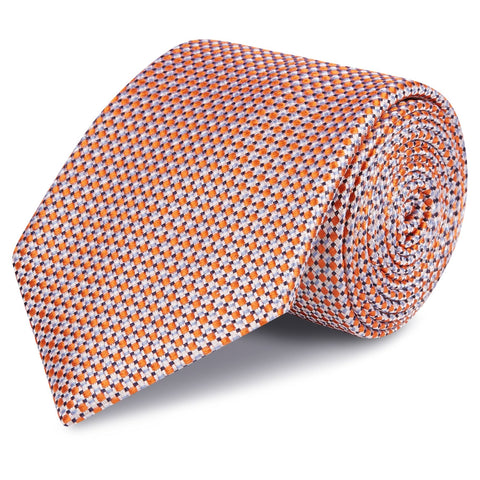 Orange Geometric Spot Woven Silk Tie