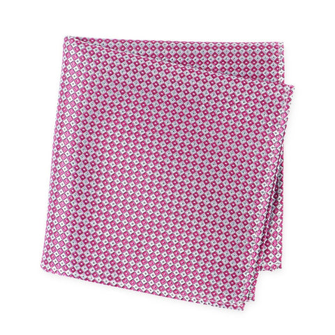 Magenta & Silver Square Patterned Silk Handkerchief