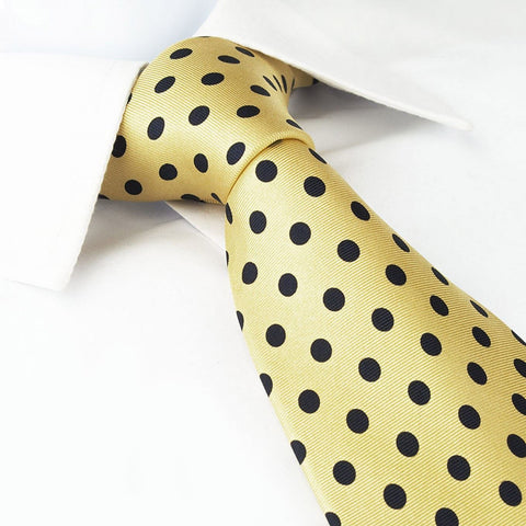 Yellow Silk Tie With Large Black Polka Dots