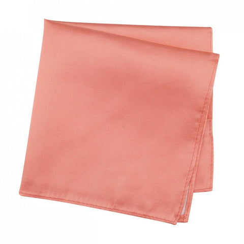 Plain Coral Silk Handkerchief