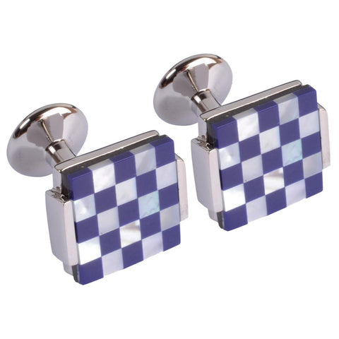 Blue & White Chequered Squares Cufflinks