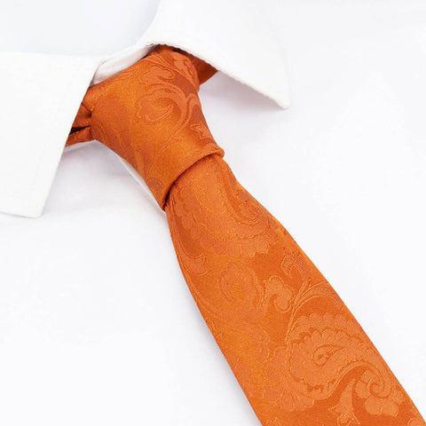 Classic Orange Paisley Slim Silk Tie