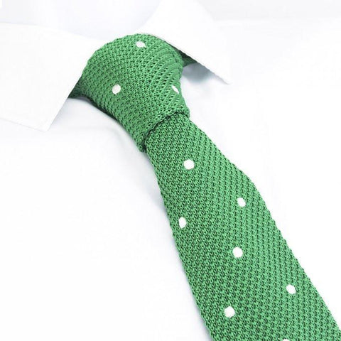 Green Polka Dot Knitted Square Cut Tie