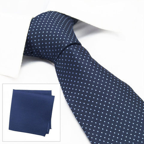 Navy Neat Pin Dot Silk Tie & Handkerchief Set