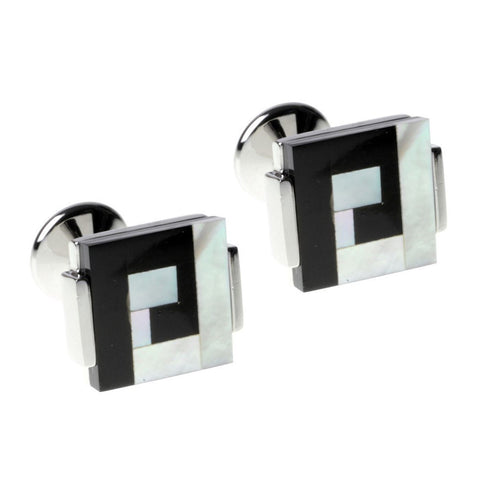 Mother of Pearl Spiral Square Cufflinks