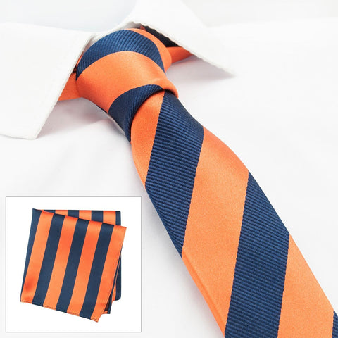 Orange & Navy Woven Striped Slim Silk Tie & Handkerchief Set